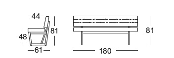 Rolf Benz 624 Bench drawing