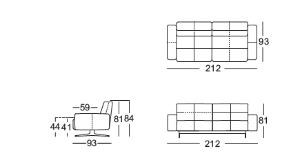 Rolf Benz 50 2 seater drawing