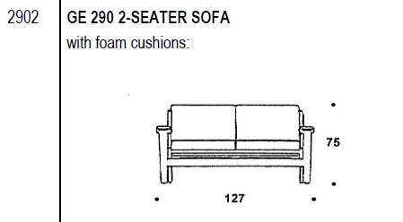 290 2-seater sofa drawing