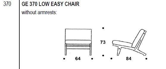 GE 370 Low Easy chair drawing