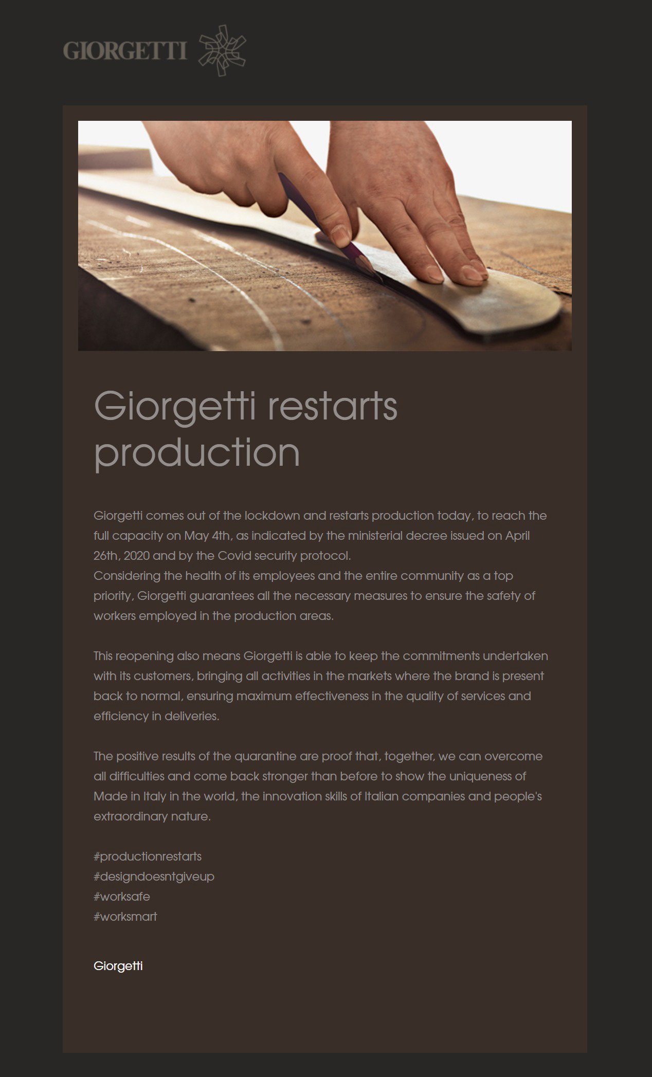 giorgetti restarts production