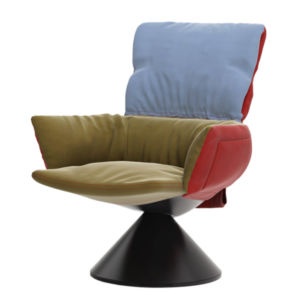 """""""LUD'O LOUNGE"""" LU_2 armchair with conical base"""